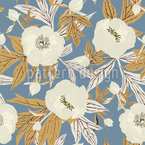 Winter Peonies Seamless Pattern