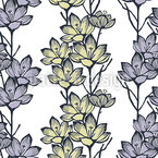 Crocus Flower Seamless Vector Pattern Design