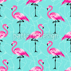 Flamingos Dance Seamless Vector Pattern Design
