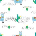 Cute Lama And Cactus Seamless Vector Pattern Design