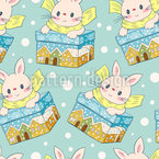 Bunnies In Boxes Vector Pattern