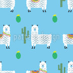 Cute Alpacas Seamless Vector Pattern Design