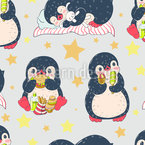 Pinguin Babys Nahtloses Vektormuster