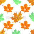 Autumn Leaves Grid Vector Pattern