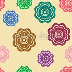 Retro Blumen Blühen Nahtloses Vektormuster