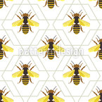 Bees And Abstract Honeycombs Repeat Pattern