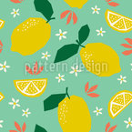 Lemons And Blossoms Seamless Vector Pattern