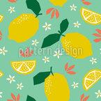 Zitronen Und Blüten Nahtloses Vektor Muster