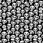 Cartoon Skulls Seamless Vector Pattern Design