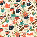 Pudding und Heißgetränk Nahtloses Vektormuster