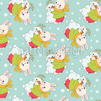Bunnies In Winter Seamless Vector Pattern Design