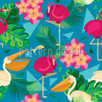 Pelicans And Flamingos  Repeating Pattern