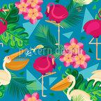 Pelikane und Flamingos Nahtloses Vektormuster