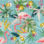 Fiesta de Flamingo Estampado Vectorial Sin Costura