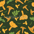 Chanterelles And Leaves Repeating Pattern