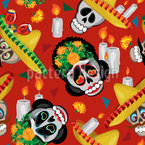 Skull And Sombrero Repeating Pattern
