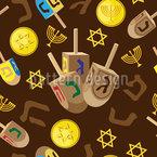 Feriado de Hanukkah Design de padrão vetorial sem costura