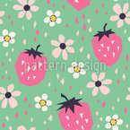 Strawberries And Flowers Vector Pattern