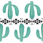 Cacti With Tribal Elements Vector Pattern