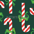 Candy Canes Green Seamless Vector Pattern Design
