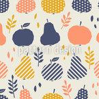 Äpfel Birnen Und Blätter Nahtloses Vektormuster