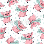 Cute Cartoon Pigs Vector Pattern