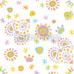 Gipsy Heart White Seamless Vector Pattern Design