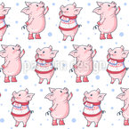 Piglets in the Snow Seamless Vector Pattern Design
