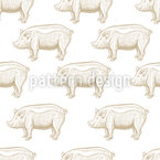Pig Engravings Seamless Pattern