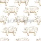 Schwein Gravuren Nahtloses Muster