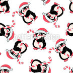 Penguin with Candy Cane Seamless Vector Pattern Design