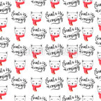 Cat Santa Is Coming Seamless Vector Pattern Design