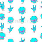Rock Skull Seamless Vector Pattern Design