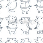 Piglets in Winter Seamless Vector Pattern Design