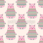 Doodle Piglets Seamless Vector Pattern Design
