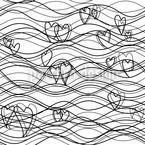 Lunghezze d'onda BW disegni vettoriali senza cuciture