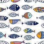 Peixe Louco Design de padrão vetorial sem costura