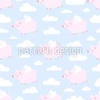 Fliegende Schweine und Wolken Vektor Design