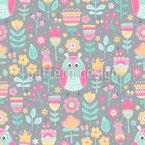 牧草地のフクロウ シームレスなベクトルパターン設計