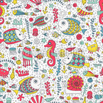 Underwater Life with animals Seamless Vector Pattern Design