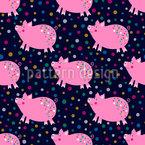 Schweine und Konfetti Musterdesign