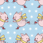 Skating Piglets Seamless Vector Pattern Design