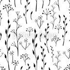 Zweige und Blätter Silhouetten Nahtloses Vektormuster