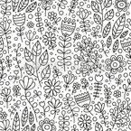Florescido Doodle Prado Design de padrão vetorial sem costura