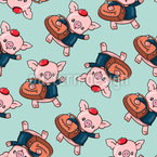 Traveling Piglet Seamless Vector Pattern Design