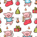 Christmas Piglets Seamless Vector Pattern Design