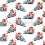 Piglets On Snowmobiles Seamless Pattern