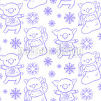 Festive Piglets Seamless Vector Pattern Design