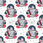 Musical Penguins Vector Ornament