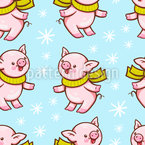 Winter Piggy Vector Pattern